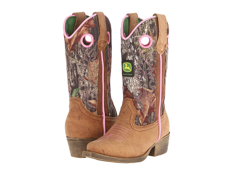 John Deere Kids - Western Pull-On (Toddler/Little Kid) (Brown Crazy Horse/Camo) Cowboy Boots
