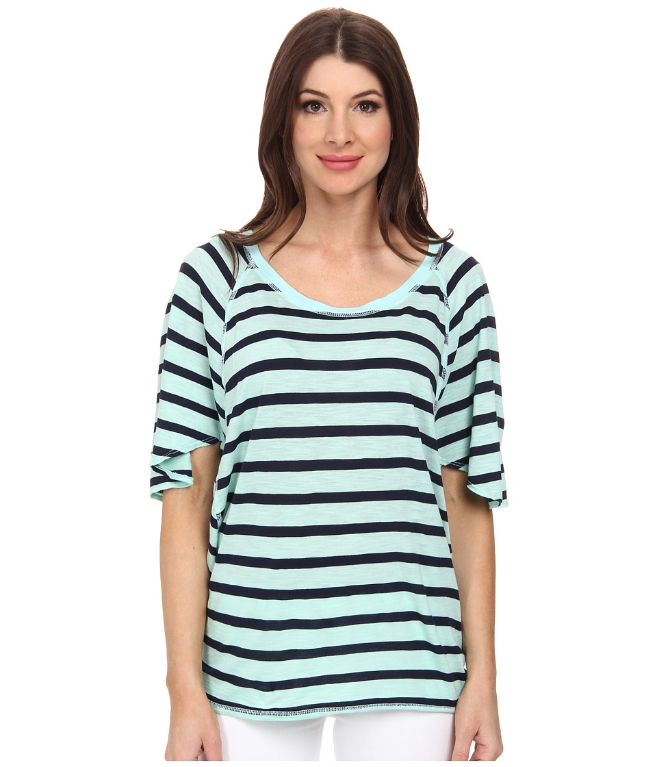 Michael Stars - Traveler Stripe Elbow Sleeve Wedge Scoop Neck Top (Cool Mint) Women's T Shirt