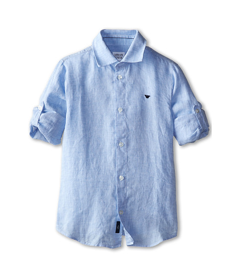 Armani Junior - Linen Button Down Shirt (Toddler/Little Kids/Big Kids) (Light Blue) Boy