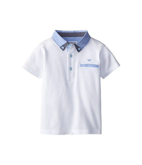 Armani Junior - Short Sleeve Polo w/ Light Blue Collar Detail (Toddler/Little Kids/Big Kids) (White) Boy's Short Sleeve Pullover