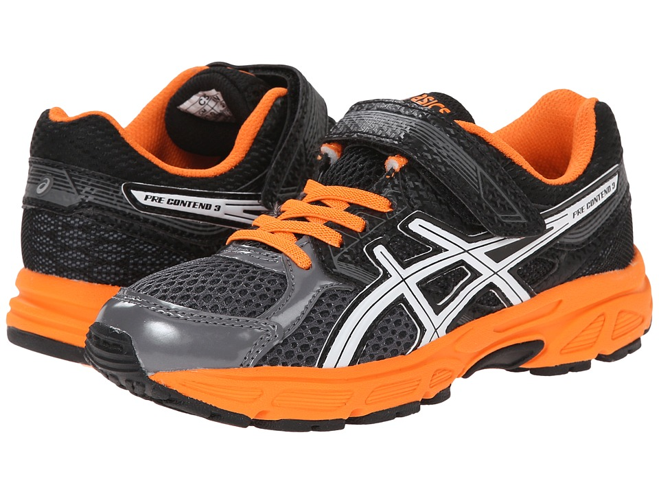 ASICS Kids - Pre-Contend 3 PS (Toddler/Little Kid) (Carbon/White/Orange) Boys Shoes