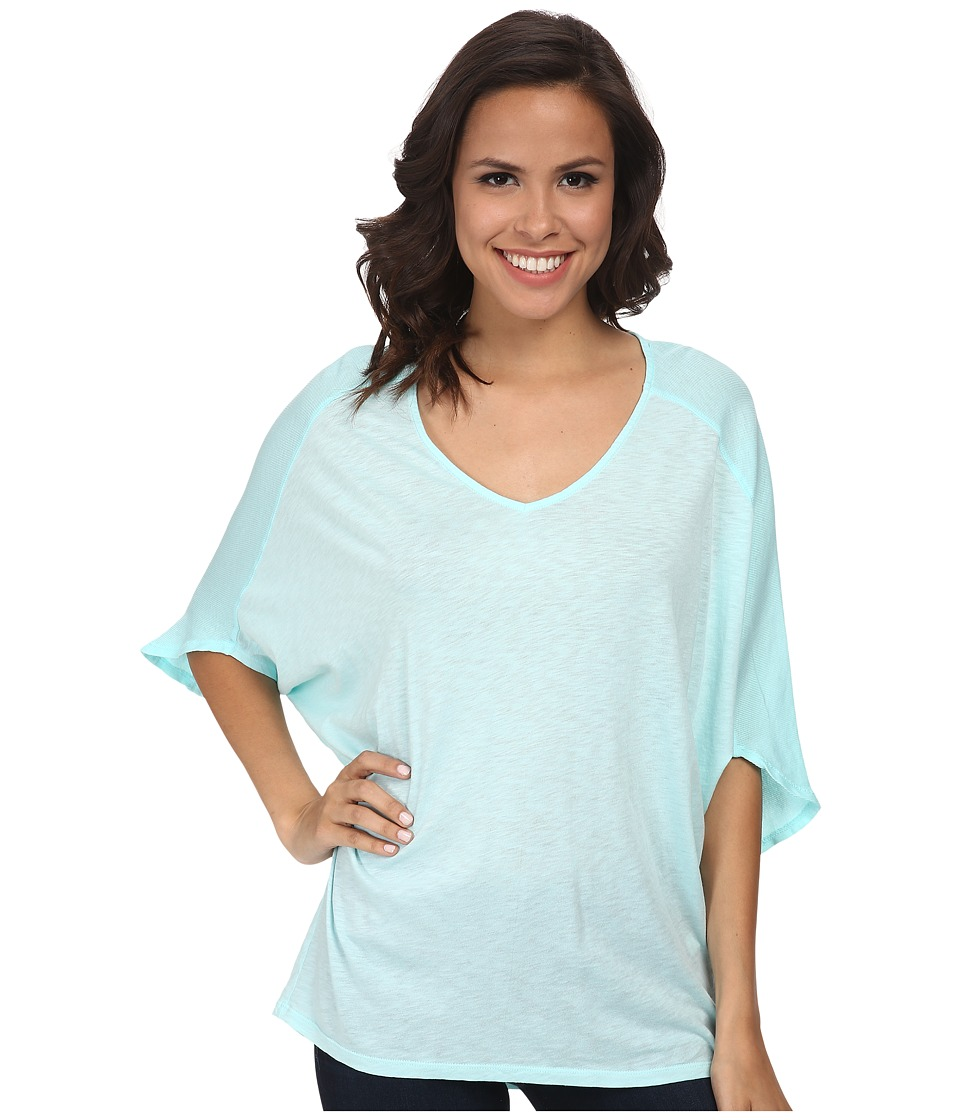 Michael Stars - Luxe Slub Dolman Sleeve V-Neck Top (Cool Mint) Women's Short Sleeve Pullover