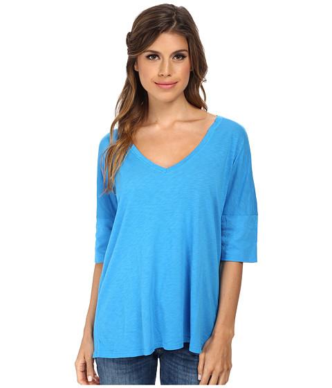 Michael Stars - Slub Elbow Roll Sleeve Vee Neck (Azul) Women's Short Sleeve Pullover