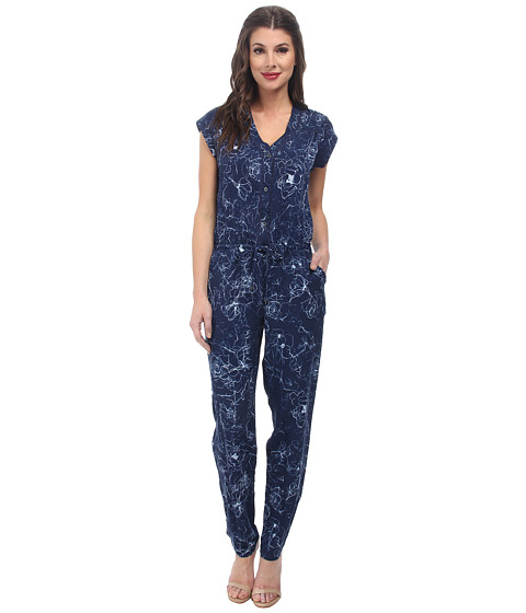 Sam Edelman - Floral Print S/S Jumpsuit (Midnight) Women's Jumpsuit & Rompers One Piece