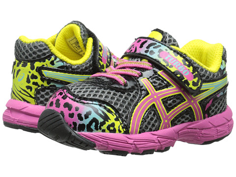 ASICS Kids - Turbo TS (Toddler) (Charcoal/Rainbow/Cheetah) Girls Shoes