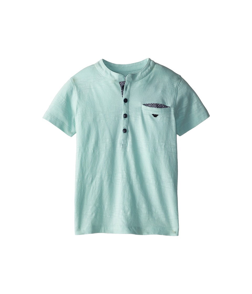 Armani Junior - S/S Lightweight Tee w/ Half Button (Toddler/Little Kids/Big Kids) (Light Green) Boy