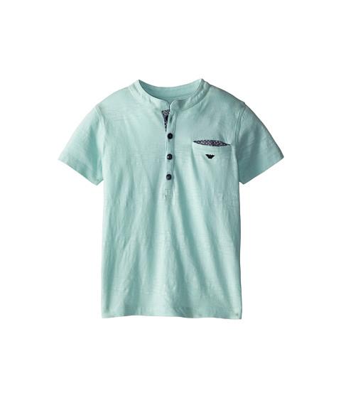 Armani Junior - S/S Lightweight Tee w/ Half Button (Toddler/Little Kids/Big Kids) (Light Green) Boy's Short Sleeve Pullover