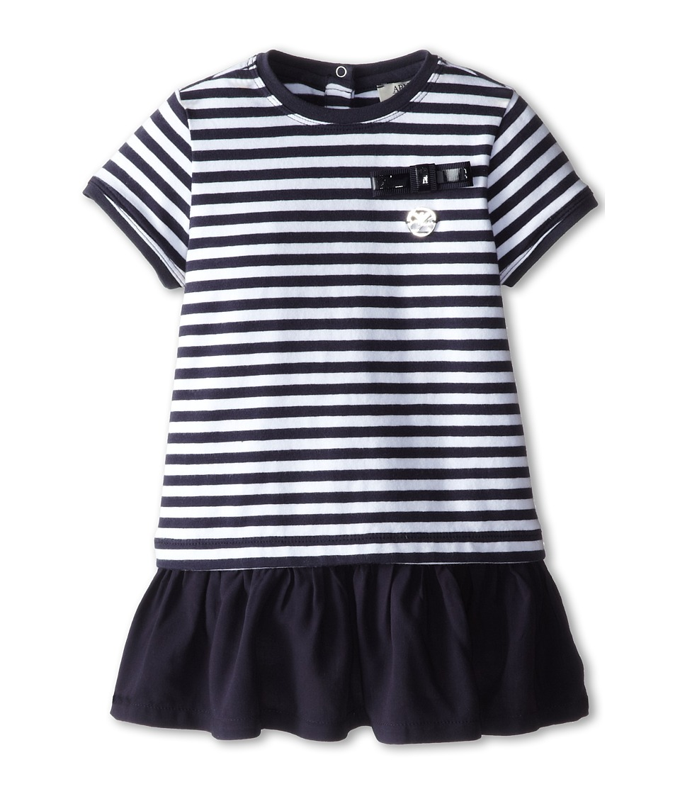 Armani Junior - Stripe Ruffle Bottom Dress (Infant) (Stripe) Girl's Dress
