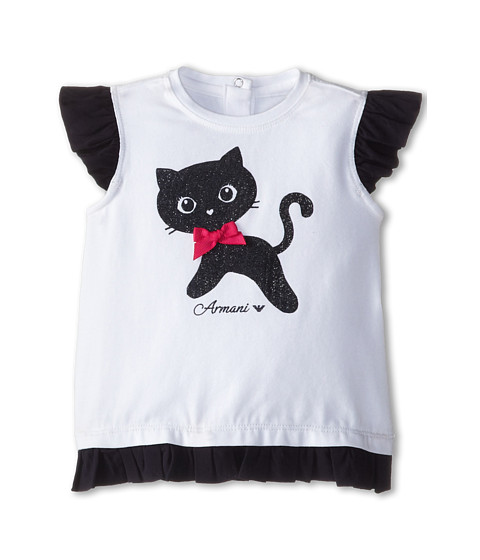 Armani Junior - Ruffle Bottom Kitten Tee (Infant) (White) Girl's Short Sleeve Pullover