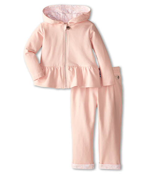 Armani Junior - Two-Piece Hooded Track Suit w/ Stripe Bow Detail (Infant) (Pink) Girl's Active Sets