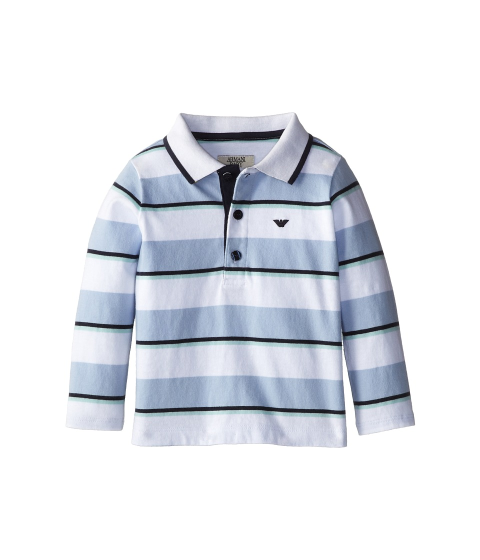 Armani Junior - Long Sleeve Stripe Polo Shirt (Infant) (Stripe) Boy's Long Sleeve Pullover