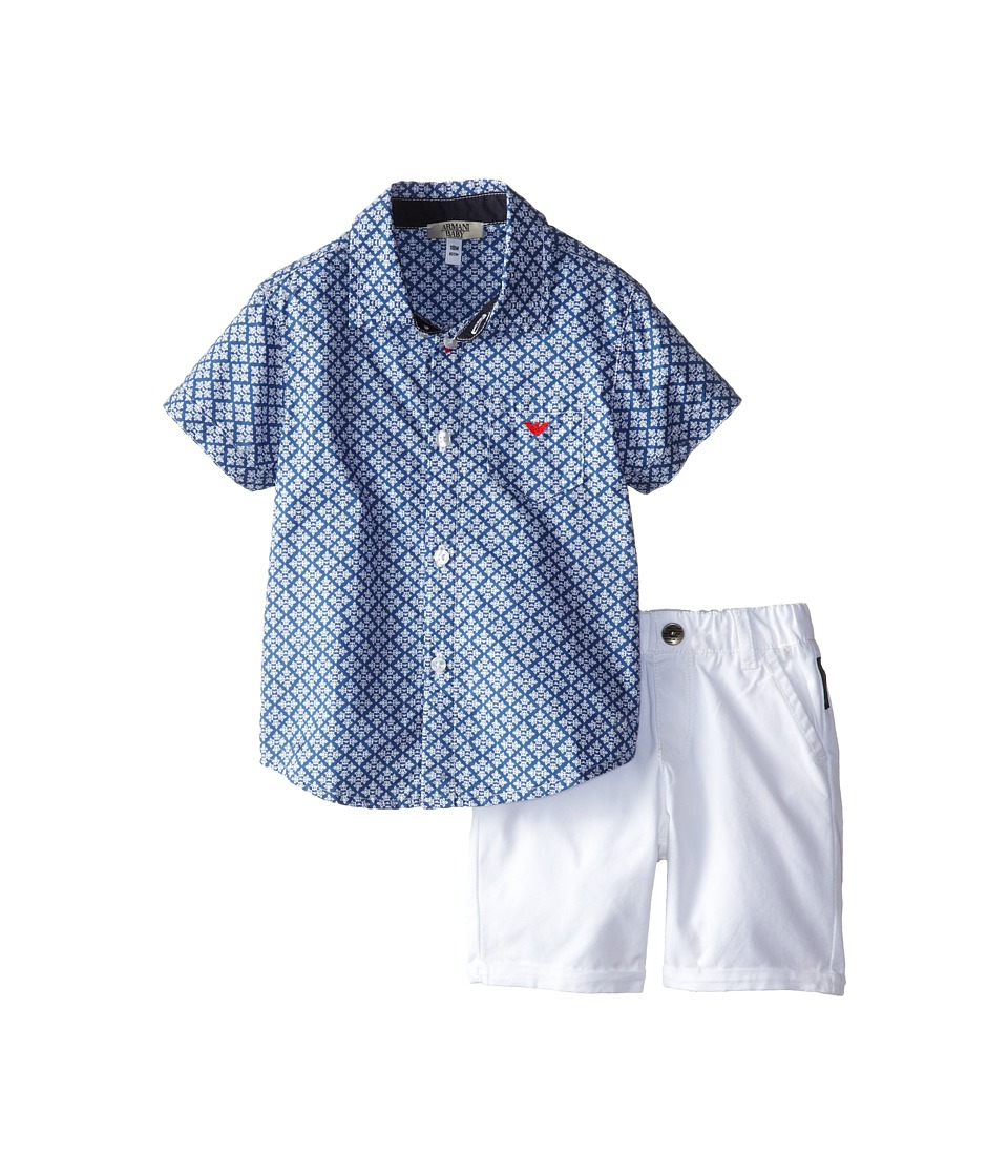 Armani Junior - Two-Piece Set: Button Down w/ White Short (Infant) (Bicolored Two-Tone) Boy's Active Sets