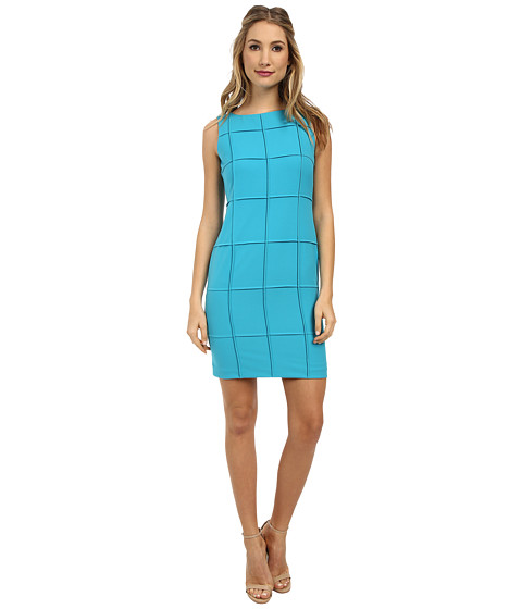 Calvin Klein - Lux Sheath w/ Squares CD4X1366 (Cyan) Women