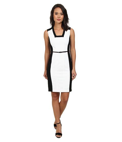 Calvin Klein - Belted Sheath w/ Contrast Panel CD4X1100 (Black/White) Women