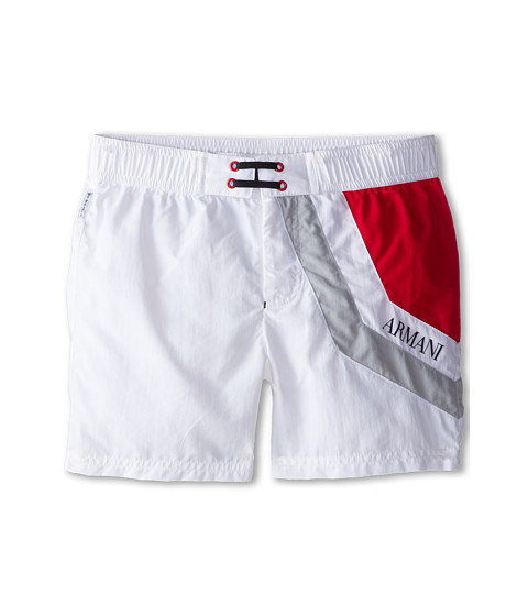Armani Junior - Swim Trunk (Big Kids) (White) Boy