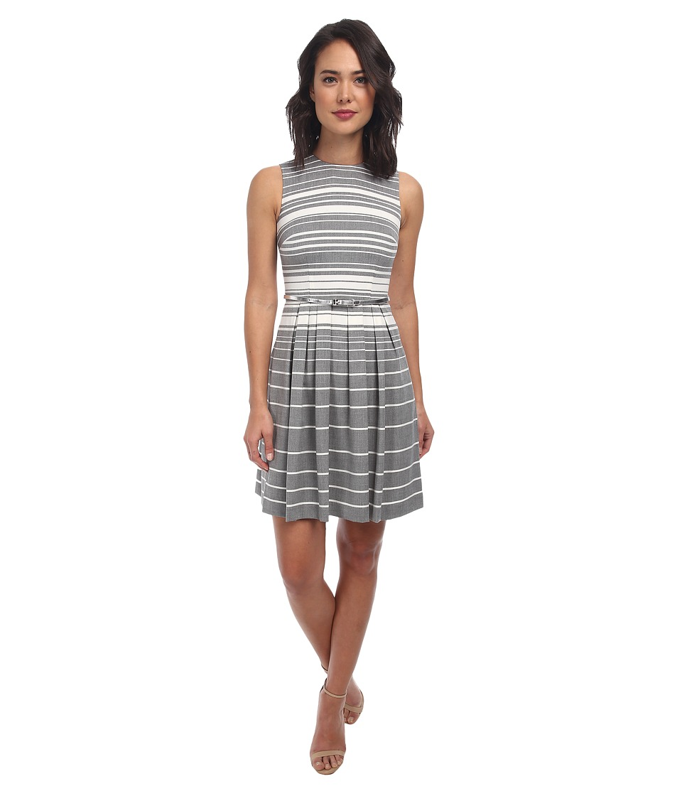 Calvin Klein - Striped Lux Dress w/ Full Skirt CD4X73W5 (Charcoal/Cream) Women's Dress