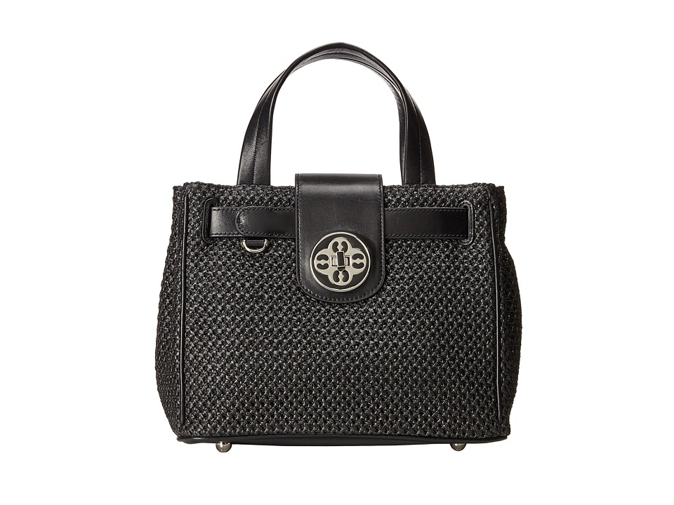 My Flat In London - Jamie Straw Handheld Tote (Black) Tote Handbags