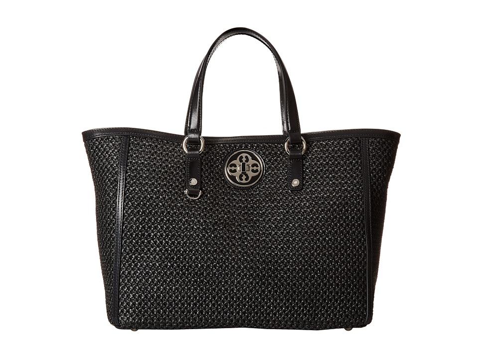 My Flat In London - Holly Straw Tote (Black) Tote Handbags