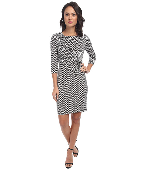 Calvin Klein - Printed Jersey Sheath CD4A3440 (Black/Cream) Women's Dress