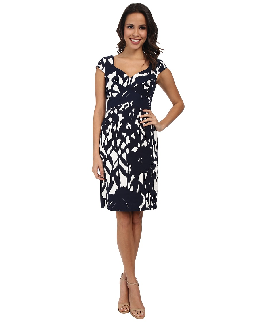 Adrianna Papell - Cross-Over Bands Sweetheart Printed Sheath (White/Navy) Women's Dress