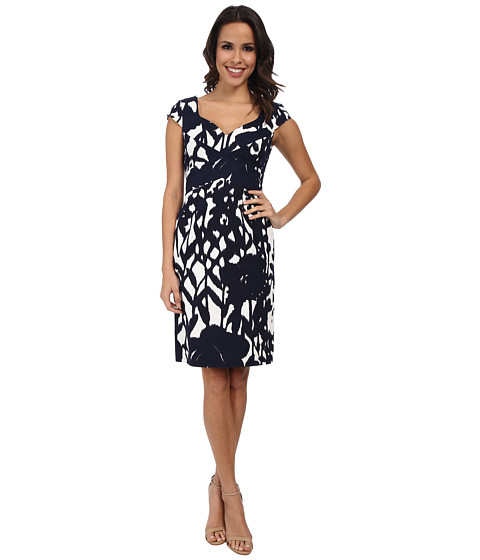 Adrianna Papell - Cross-Over Bands Sweetheart Printed Sheath (White/Navy) Women