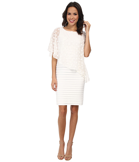 Adrianna Papell - Embellished Asymetrical Caplet Band Dress (Ivory) Women