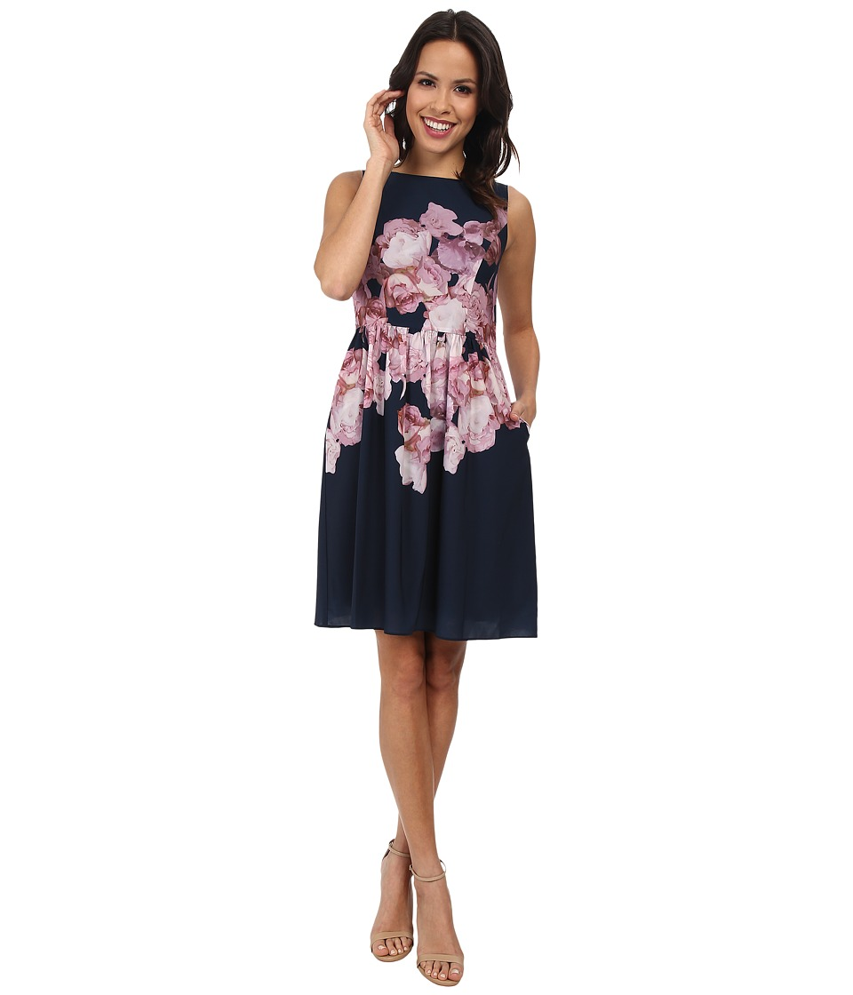 Adrianna Papell - Soft Gathered Skirt Placed Rose Print Dress (Blue Multi) Women