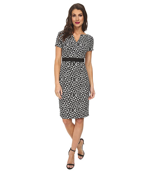 Adrianna Papell - Printed Split Neck and Hem Sheath Dress (Black/Ivory) Women's Dress