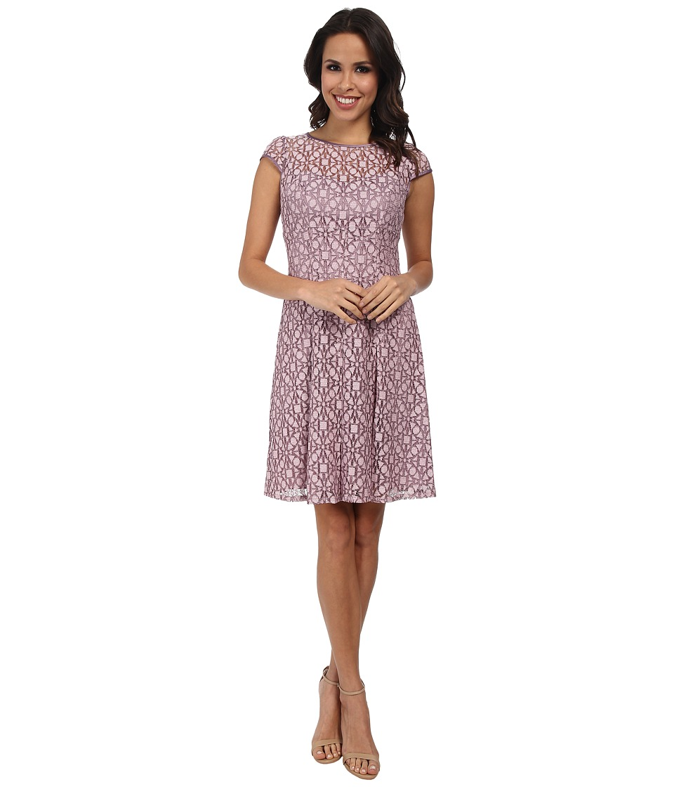 Adrianna Papell - Sweetheart Sheer Neckline Fit and Flare Dress (Dusty Pink) Women's Dress