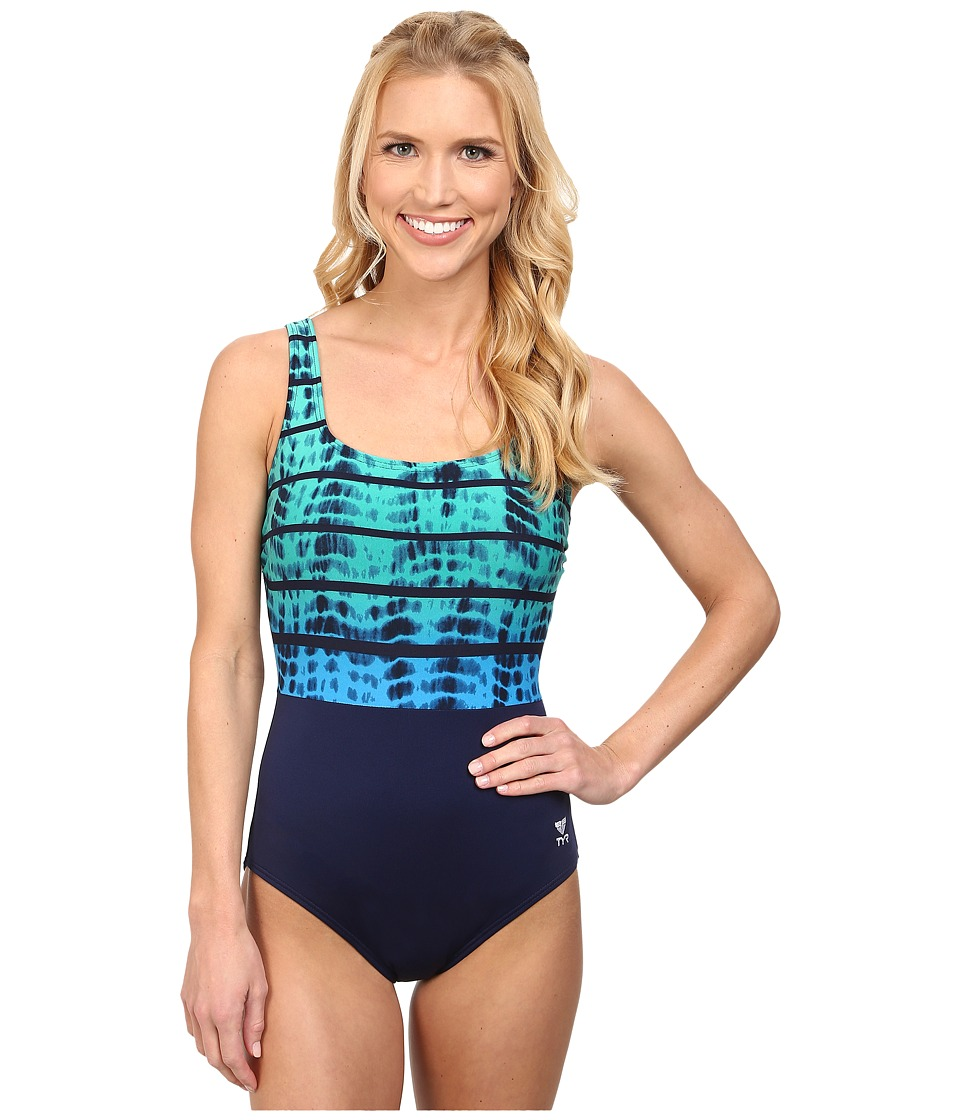 TYR - Bondi Beach Aqua Controlfit (Navy/Turquoise) Women
