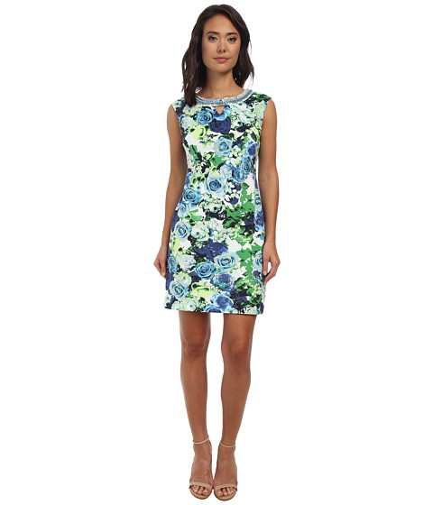 rsvp - Avery Floral Dress (White/Blue) Women's Dress