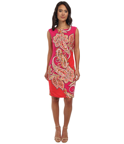 rsvp - Heidi Paisley Dress (Pink/Red/Gold) Women's Dress