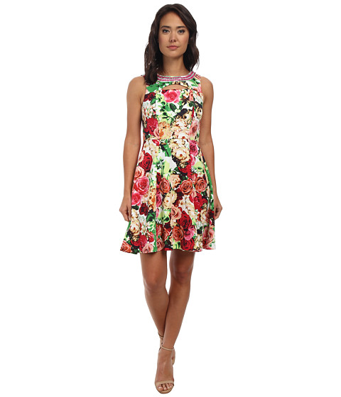 rsvp - Floral Jasmine Sleeveless Dress (Ivory/Pink/Navy) Women's Dress