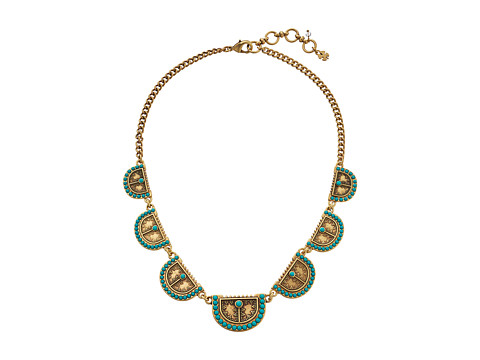 Lucky Brand - Gold and Turquoise Shield Collar Necklace (Gold) Necklace
