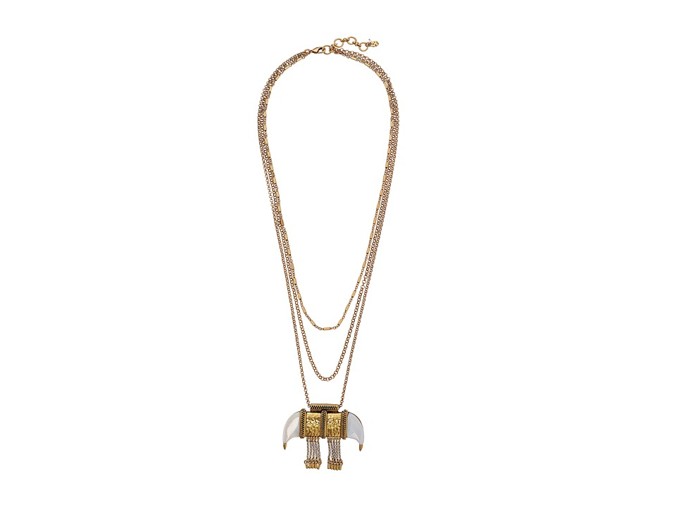 Lucky Brand - White Tusk Pendant Necklace (Gold) Necklace