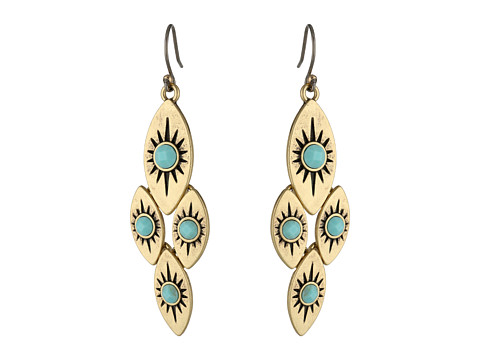 Lucky Brand - Turquoise and Gold Quad Drop Earrings (Gold) Earring