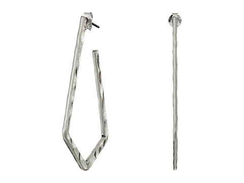 Lucky Brand - Hammered Hoop Earrings (Silver) Earring