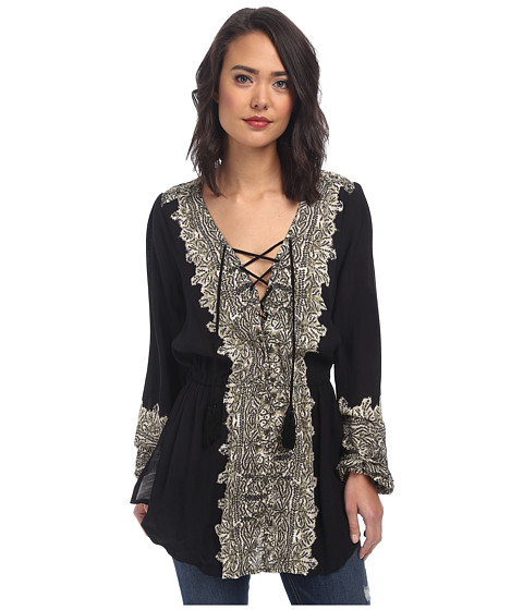 Free People - Printed Moments Tunic (Black Combo) Women's Clothing