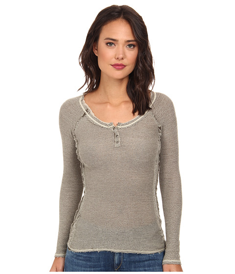 Free People - Rag Tag Henley Sweater (Army/Light Green Combo) Women