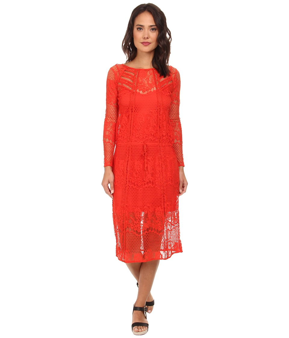 Free People - Luna Lace Dress (Pimento) Women's Dress