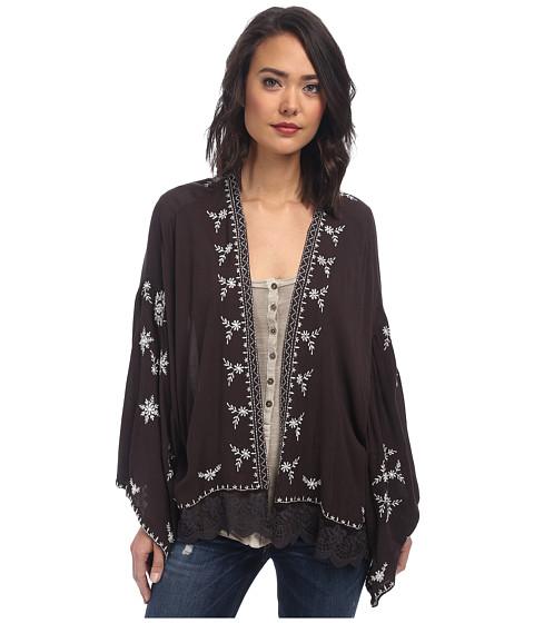 Free People - Embroidered Kimono Jacket (Washed Black Combo) Women's Coat