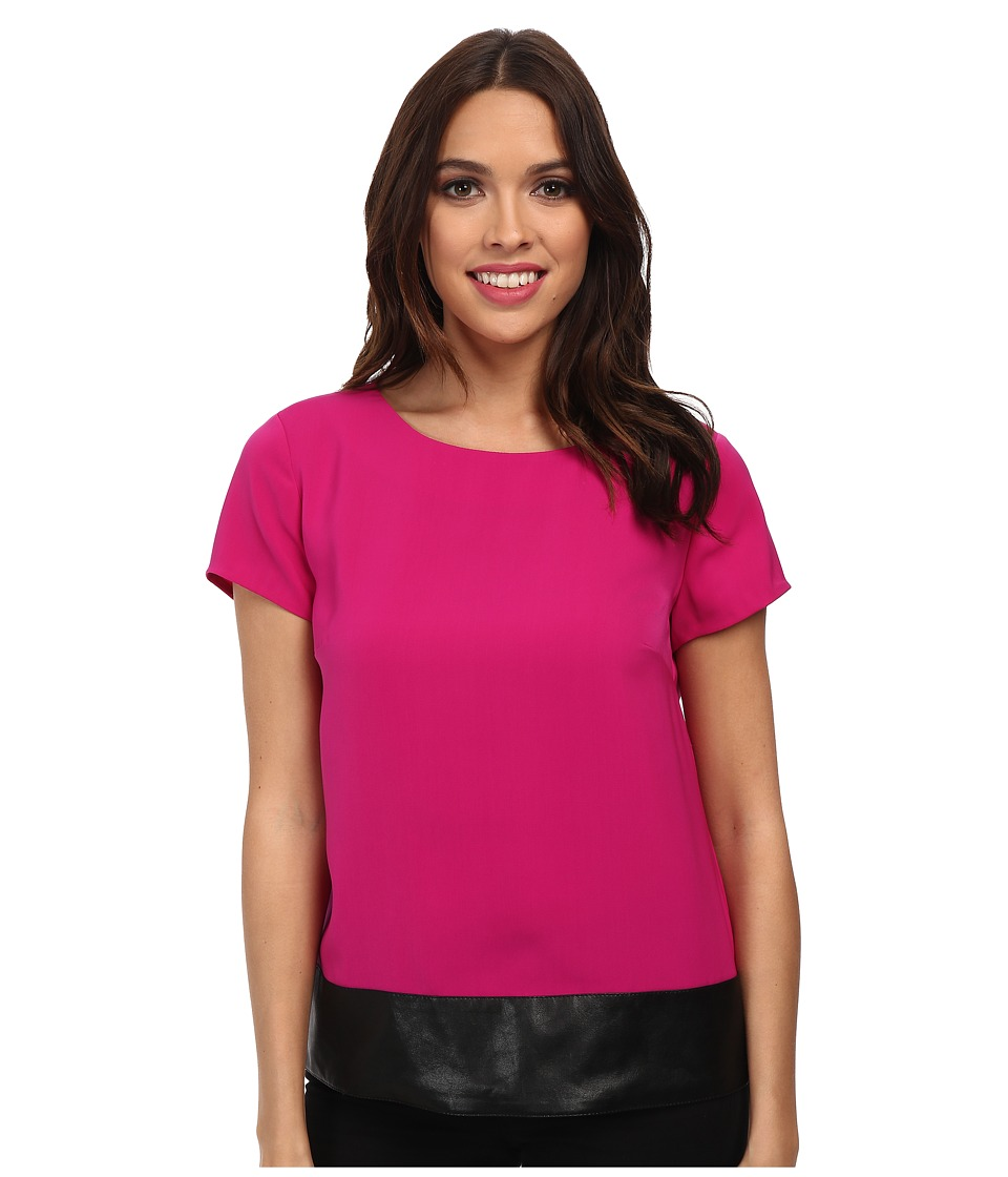 Jones New York - Faux Leather Trim Tee (Magenta) Women