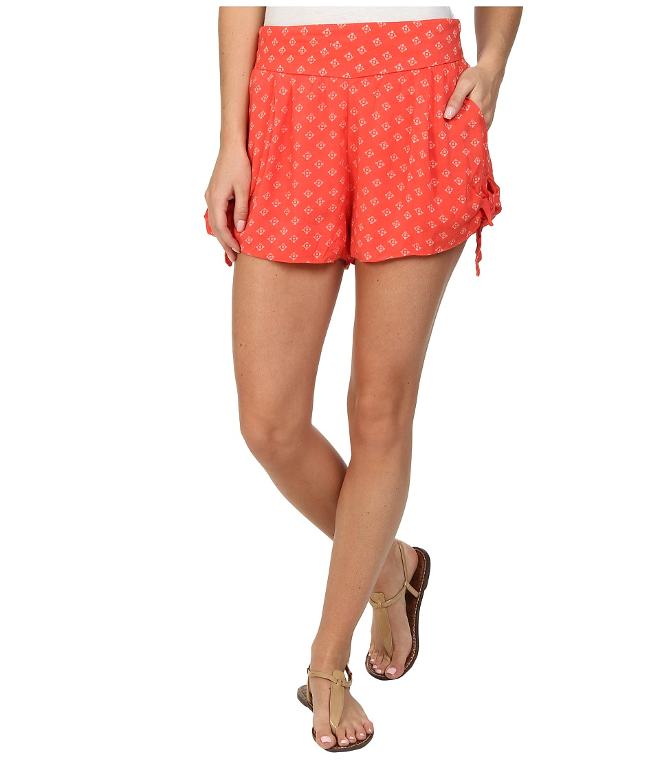 Free People - Printed Tie Short (Coral Combo) Women's Shorts