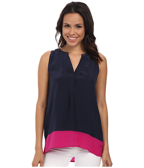 Hatley - Silk Sleeveless Blouse (Navy/Fuchsia) Women's Blouse