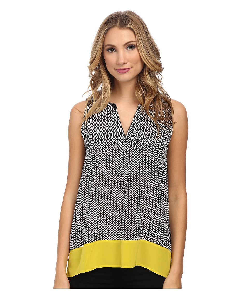 Hatley - Silk Sleeveless Blouse (Black Broken Chevron) Women