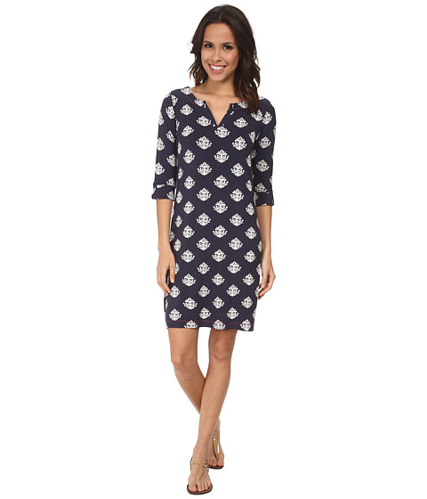 Hatley - Peplum Sleeve Dress (Thistle Navy) Women's Dress
