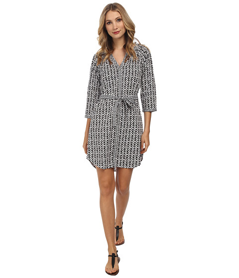Hatley - Shirt Dress (Black Broken Chevron) Women's Dress