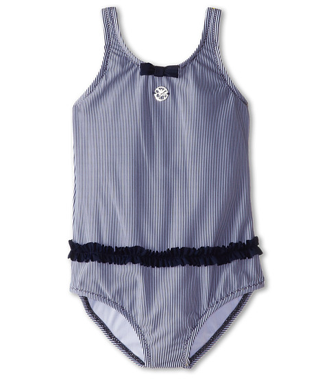 Armani Junior - Stripe One-Piece Swimsuit w/ Ruffle (Toddler/Little Kids) (Stripe) Girl