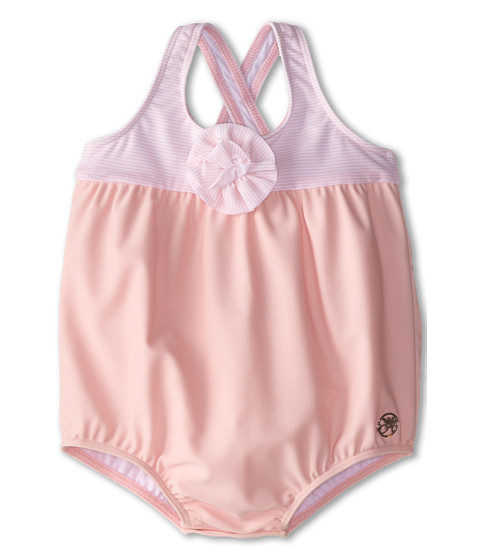 Armani Junior - One-Piece Swimsuit w/ Flower Detail (Infant) (Stripe) Girl