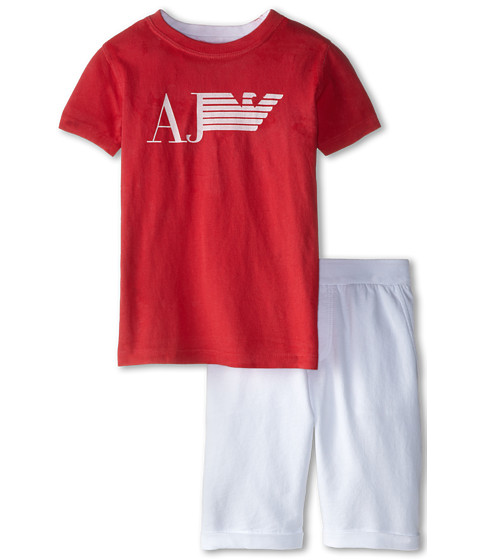Armani Junior - Two-Piece Set: Short Sleeve Tee w/ White Short (Toddler/Little Kids/Big Kids) (Bicolor Two-Tone) Boy's Active Sets